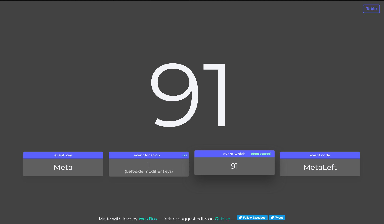 keycode.info's UI